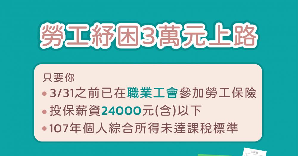 【防疫紓困第三彈】勞工紓困3萬元上路!4/20起開放申請